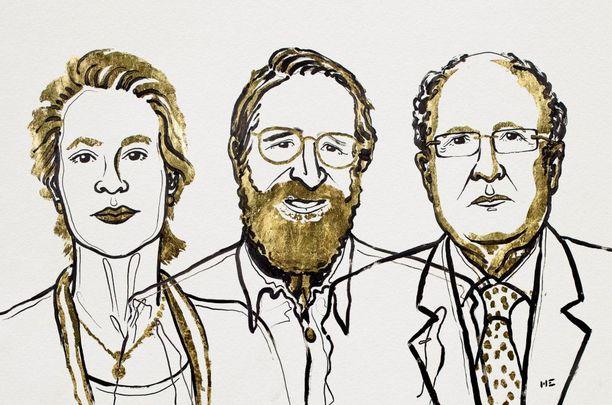 Nobelin kemianpalkinto myönnettiin Berkeleyssä työskentelevälle Frances H. Arnoldille (vas.), Harvardin emeritusprofessorille George P. Smithille sekä Cambridgen emeritusprofessorille Gregory P. Winterille.