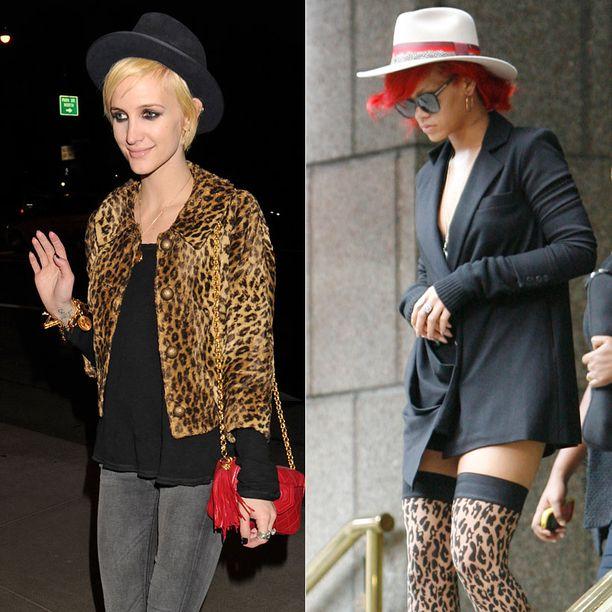 Ashlee Simpson ja Rihanna pitävät paitsi leopardikuosista myös hatuista.