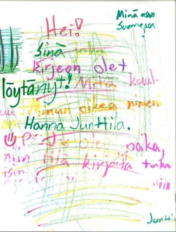 Pullopostissa oli kirje, jossa Hanna Junttila esitteli itsensä.