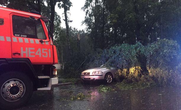 Helsingin Oulunkylässä puu kaatui auton päälle.