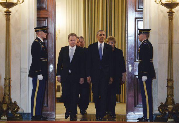 Barack Obama toivotti Sauli Niinistön tervetulleeksi Valkoiseen taloon.