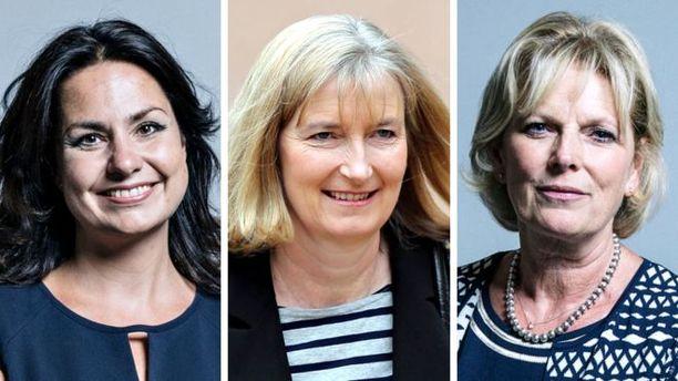 Konservatiiveista eroneet Heidi Allen (vas.), Sarah Wollaston ja Anna Soubry ovat kaikki kannattaneet Britannian pysymistä EU:n jäsenenä.