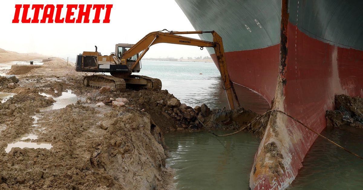 Omistaja toiveikkaana: Suezin kanavaan juuttunut laiva saatetaan saada irti jo lauantaina