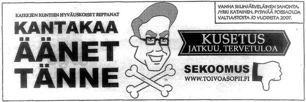 YLILYÖNTI? Kokoomuksen kunnallisvaaliehdokkaat hermostuivat Viikko-Häme -lehden alatyylistä kieltä käyttävästä pilapiirroksesta. Klikkaa kuva isommaksi.