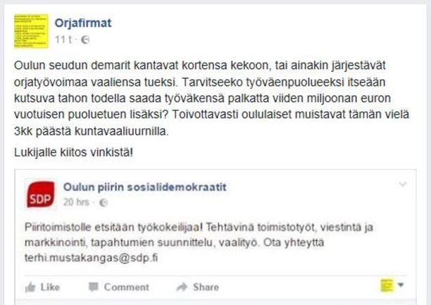 Oulun piirin sdp haki palkatonta työkokeilijaa, mutta joutui perääntymään someraivon takia.