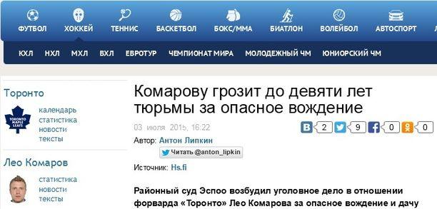 """""""Komarovia uhkaa jopa yhdeksän vuoden vankeus vaarallisesta ajamisesta"""" otsikoi suosittu venäläislehti Sovetski Sport."""