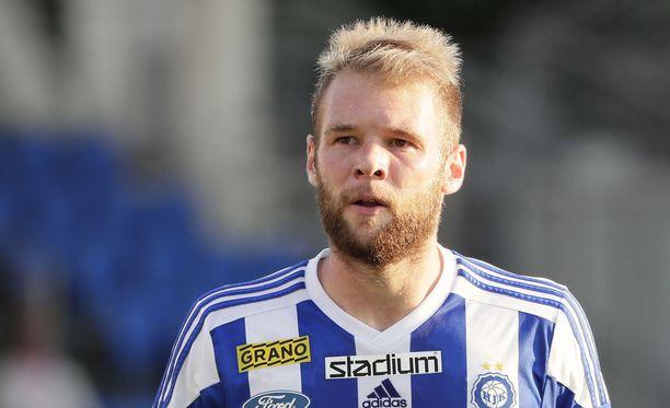 Brassihyökkääjä Klaussin maali riitti HJK:lle voittoon. Arkistokuva.