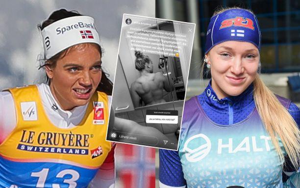Anita Korva (oikealla) esitteli selkälihaksiaan Instagramin stories-osiossa. Norjan ikätoveri Kristine Stavås Skistad ei vakuuttunut.