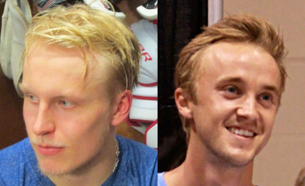 Patrik Laine ja Draco Malfoyta näyttelevä Tom Felton - samannäköisiäkö?