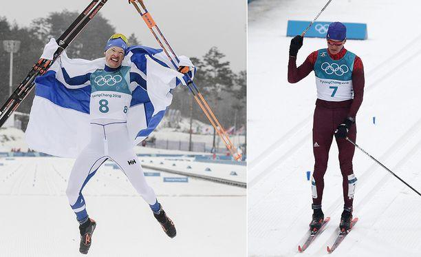 Iivo Niskanen voitti olympiakultaa, Aleksandr Bolshunov pokkasi hopeaa.