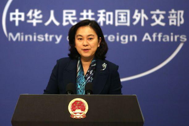 Kiinan ulkoministeriön tiedottaja Hua Chunying kuvattuna tammikuussa tiedotustilaisuudessa.