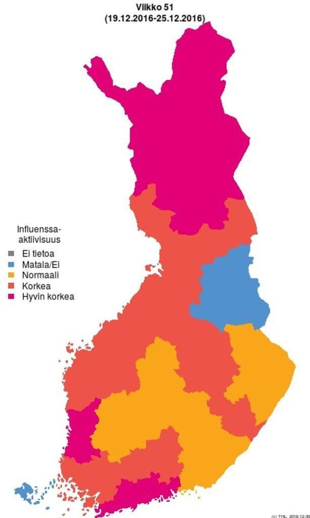 THL:n kartasta käy ilmi, että influenssatilanne on pahin Uudellamaalla, Satakunnassa ja Lapissa.