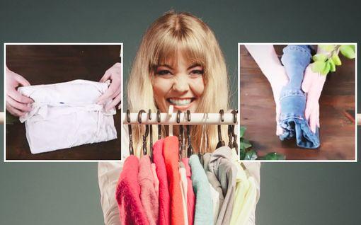 Vaatekaappi kuin sisustuslehdestä – viikkaa vaatteesi kuin Marie Kondo, niin tavara-ahdistus katoaa