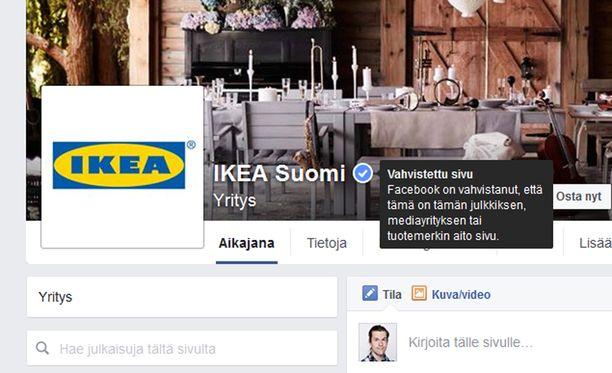 Aidon Facebook-sivun tunnistaa sinisestä ikonista sen nimen vieressä.