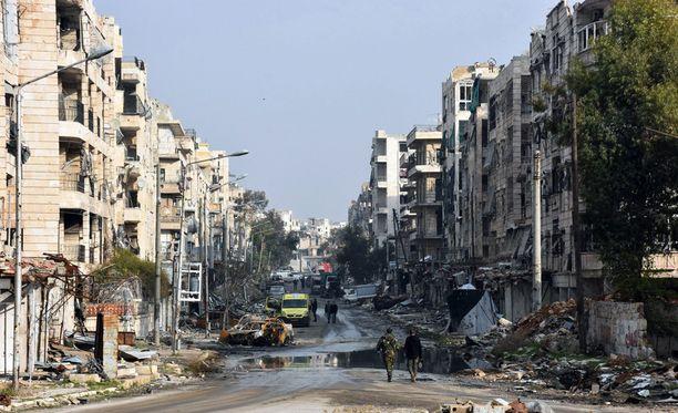 Turkin valtiollinen uutistoimisto Anadolu kertoi keskiviikkona Venäjän ja Turkin sopineen tulitauosta koko Syyriassa. Kuva Alepposta.