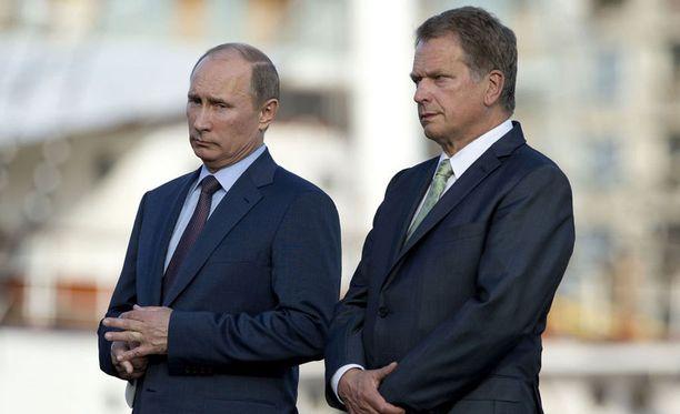 Presidentti Sauli Niinistö isännöi Venäjän presidentin Vladimir Putinin Suomen-vierailua vuonna 2013.