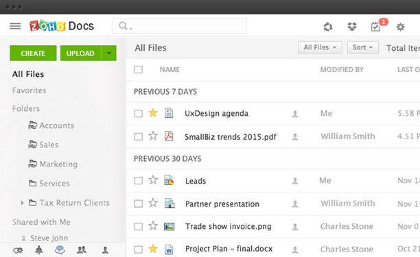 Zoho Docs on vaihtoehto Google Drivelle.