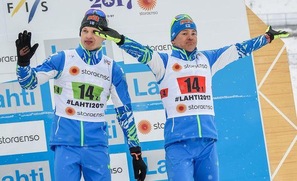 Iivo Niskanen ja Sami Jauhojärvi kisaavat taas huomenna Lahdessa. Tällä kertaa kuitenkin ilman suksia.