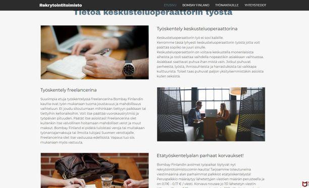 Kuvakaappaus Rekrytointitoimisto.com-sivuilta