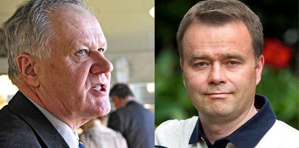 Seppo Kääriäinen (vas.) ei ollut hyvillään Janne Sankelon ministeripuheista.