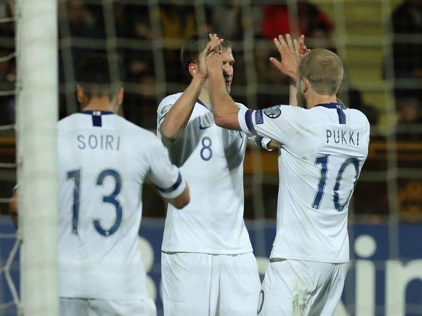 Suomi juhli Armeniaa vastaan 2-0-voittoa.