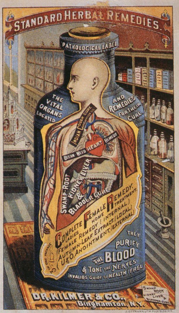 Rohdosvalmistetta mainostava kortti vuodelta 1885.