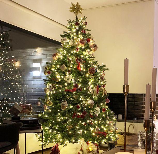 Tältä näyttää Janina Fryn silkkikuusi. Punaiset koristeet tuovat joulun lämpöä kuuseen, kun taas valkoiset raikastavat kokonaisuutta.