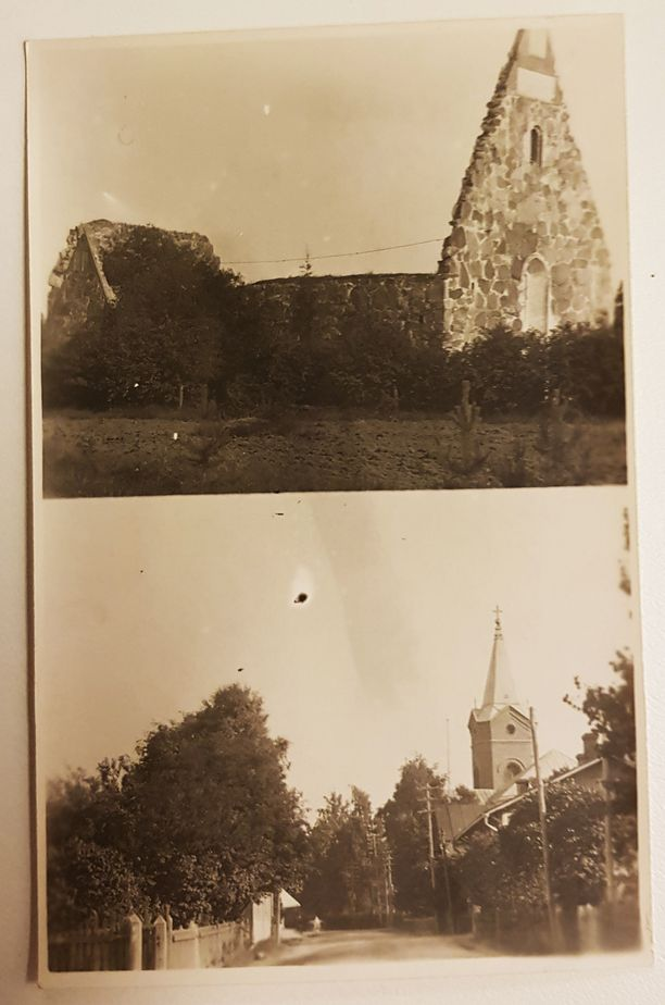 Pälkäneen rauniokirkko kuvattuna 1929 vain kymmenen vuotta Gustaf Retziuksen kuoleman jälkeen. Alakuvassa uusi kirkko.