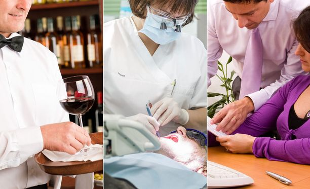 Listasta löytyy muun muassa tarjoilijoiden, hammaslääkärien ja toimistotyöntekijöiden keskimääräiset tienestit.