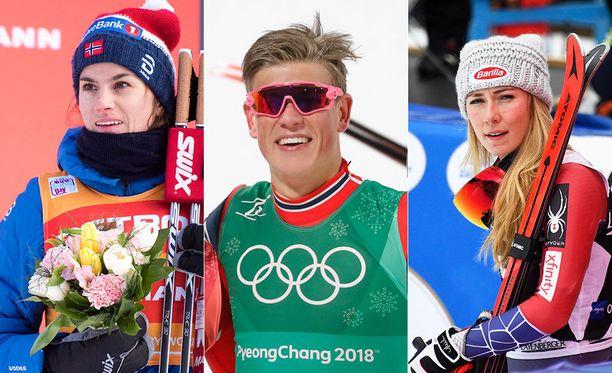 Heidi Weng (vas.) ja Johannes Hösflot Kläbo tienasivat palkintorahoja maailmancupista molemmat yli 100 000 euroa. Alppihiihtäjä Mikaela Shiffrin kuittasi niitä peräti 600 000 euroa.