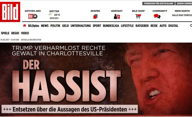 Euroopan laajalevikkisin sanomalehti Bild kutsuu Trumpia Vihaajaksi.