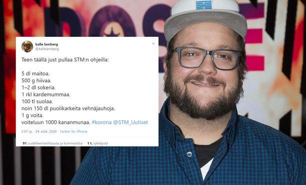 Kalle Lambergin vitsi kerää tykkäyksiä Twitterissä.