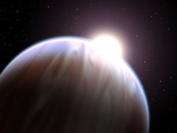 Taiteilijan näkemys eksoplaneetasta.