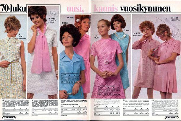 Uusi vuosikymmen alkoi Anttilan kuvastoissa näyttävästi. Aukeamalla vuoden 1970 naisten vaatteita.