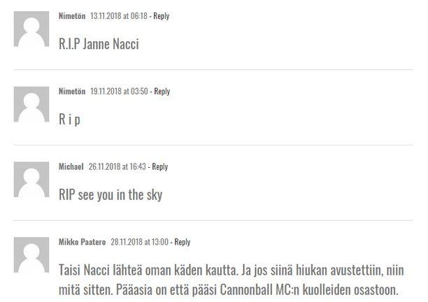 RIP-viestejä Tranbergin blogissa.