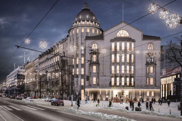 Havainnekuva tulevan Grand Hotel Hansan sisäänkäynnistä. Hotelli toimii osin nykyisen Uuden Ylioppilastalon, osin Seurahuoneen tiloissa.