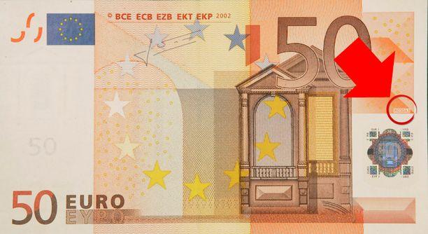 Vanha 50 Euron Seteli