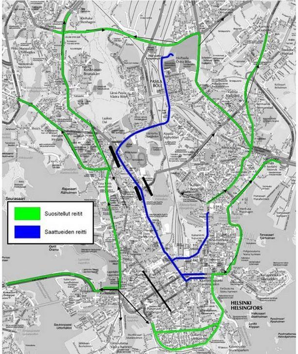 Poliisi suosittelee näitä reittejä autoilijoille (klikkaa suuremmaksi).
