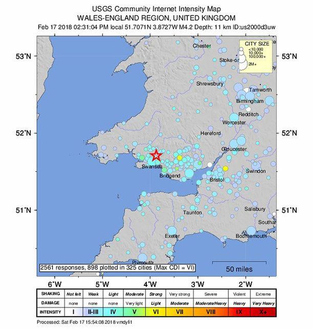US Geological SurveyN (USGS) julkaisemassa kartassa näkyy järistyskohdat.