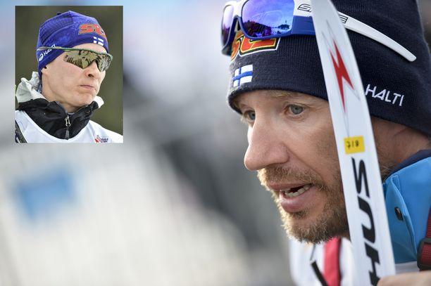 Matti Heikkinen (vas.) olisi Toni Roposen mielestä Teemu Pasasta (oik.) parempi mies hiihtomaajoukkueen ruoriin.