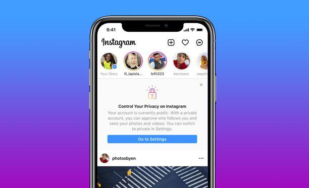 Instagram tekee nuorten tileistä automaattisesti yksityisiä.