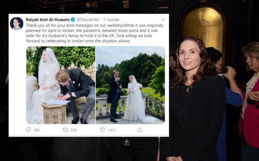Ensimmäiset kuninkaalliset koronahäät tanssittu – Jordanian prinsessa ja suosikkikirjailijan tyttärenpoika vihittiin Isossa-Britanniassa
