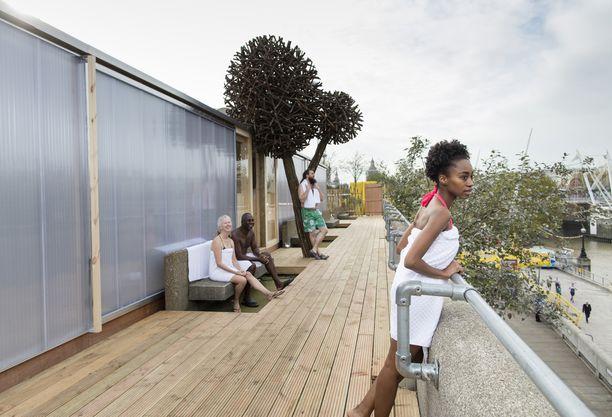 Näkymä lauteilta ja saunaterassilta on yli Thames-joen. Ympäristötaiteilija Jaakko Pernun suomalaisista pajuista rakentama puun kaltainen teos luo tunnelmaa terassilla.