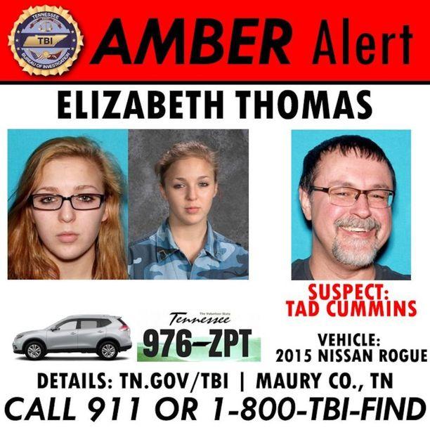 Elizabeth Thomasista annettu ilmoitus kidnappauksesta.