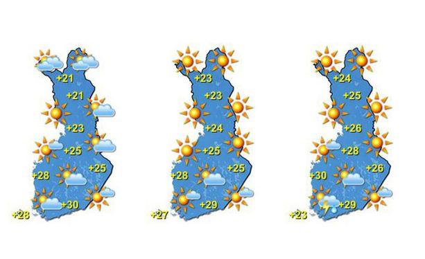 Sääennuste näyttää aurinkoiselta ja lämpimältä.