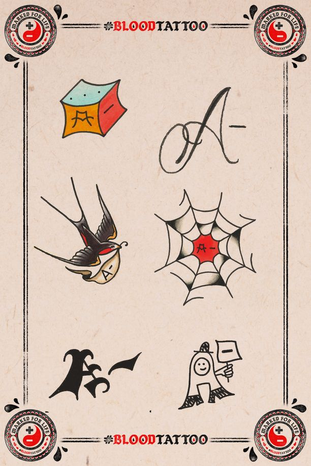 Jokaista tatuointimallia on saatavina kaikilla veriryhmillä.