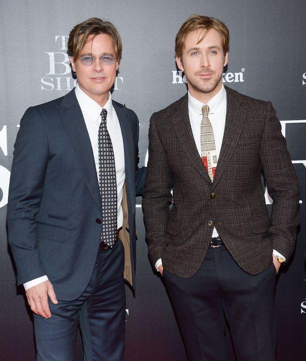 Brad Pitt ja Ryan Gosling The Big Short -leffan New Yorkin -ensi-illassa maanantaina.