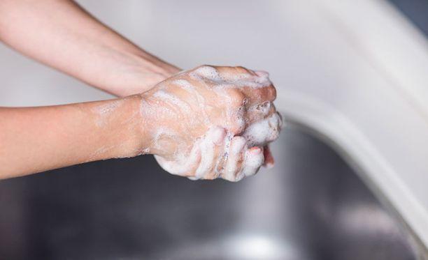 Käsien huolellinen peseminen vedellä ja saippualla torjuu tautia käsidesiä tehokkaammin.