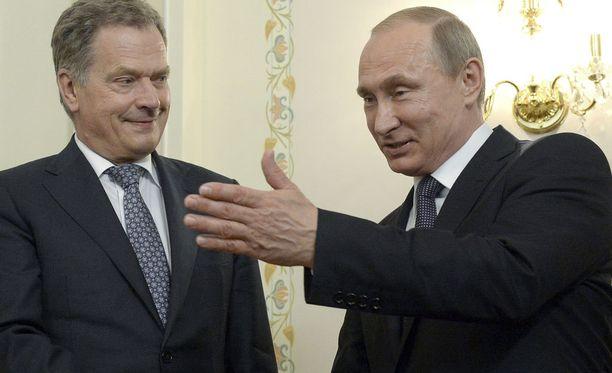 Sauli Niinistö ja Vladimir Putin keskustelivat tänään puhelimitse. Arkistokuva.