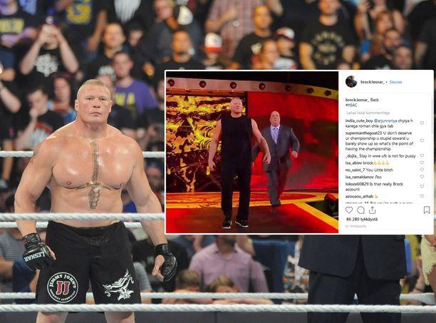 Vuoden 2016 ja vuoden 2018 Brock Lesnarin lihasmassoissa on huomattava ero.